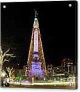 Monument Circle At Christmas Acrylic Print by Twenty Two North Photography