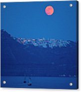 Moon Over Santorini Acrylic Print