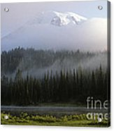 Mount Rainier Shrouded In Fog Acrylic Print