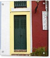 Narrow Yellow Building In Old San Juan Acrylic Print