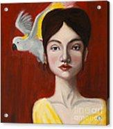 Natalie And Her White Bird Acrylic Print