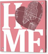 New York Map Home Heart - New York City New Yorkroad Map In A He Acrylic Print