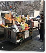 New York Street Vendor Acrylic Print by Frank Romeo