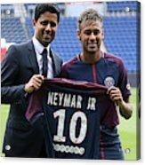 Neymar Signs For PSG Acrylic Print