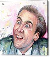 Nicolas Cage You Don't Say Watercolor Portrait Acrylic Print