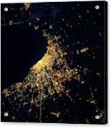Night Time Satellite Image Of Chicago Acrylic Print
