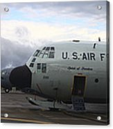 Nose Cone Detail On A Lc-130h Aircraft Acrylic Print by Timm Ziegenthaler