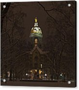 Notre Dame Golden Dome Snow Acrylic Print by John Stephens