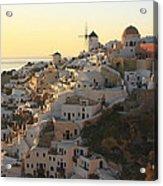Oia At Sunset Santorini Cyclades Greece  Acrylic Print