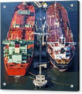 Oil Tankers Docked At Oil Pier, Down Acrylic Print