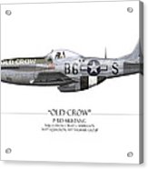 Old Crow P-51 Mustang - White Background Acrylic Print