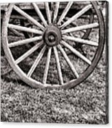 Old Wagon Wheel On Cart Acrylic Print