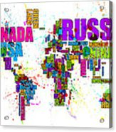 Paint Splashes Text Map Of The World Acrylic Print