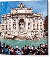 Panoramic View Of Fontana Di Trevi In Rome Acrylic Print