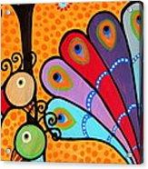 2 Peacocks And Tree Acrylic Print