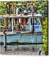 Pelican And Fishing Boat Acrylic Print