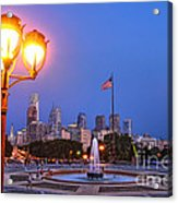 Philadelphia At Dusk Acrylic Print by Olivier Le Queinec