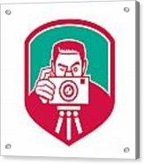 Photographer Shooting Camera Shield Retro Acrylic Print