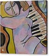 Pianos And Guitars Acrylic Print by Chaline Ouellet