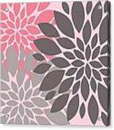 Pink Gray Peony Flowers Acrylic Print