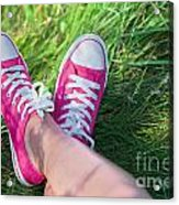 Pink Sneakers On Girl Legs On Grass Acrylic Print