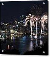 Pittsburgh Fireworks At Night Acrylic Print