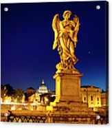Ponte Sant Angelo Acrylic Print by Brian Jannsen