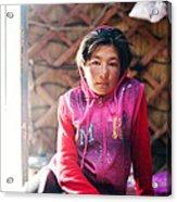 Portrait Of Young Kyrgyz Girl Inside A Yurt China Acrylic Print