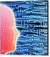 Printed Circuit Board And Wireframe Head Acrylic Print