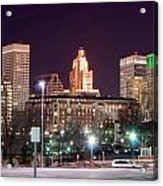 Providence Rhode Island Skyline At Night Acrylic Print