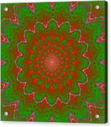 Psychedelic Spiral Vortex Green And Red Fractal Flame Acrylic Print