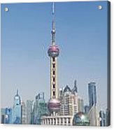 Pudong Skyline In Shanghai China Acrylic Print