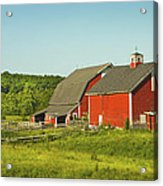 Red Barn And Fence On Farm In Maine Acrylic Print