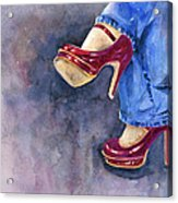 Red Heels And Jeans Acrylic Print