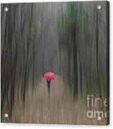 Red Umbrella In The Forest Acrylic Print
