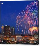 D21l-10 Red White And Boom Fireworks Display In Columbus Ohio Acrylic Print