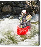 Red Whitewater Kayak Acrylic Print