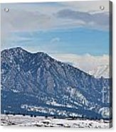 Rocky Mountains Flatirons And Longs Peak Panorama Boulder Acrylic Print