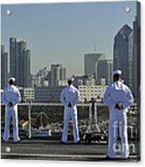 Sailors Man The Rails Aboard Acrylic Print