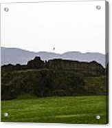 Saltire And The Ruins Of The Urquhart Castle In Scotland Acrylic Print
