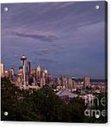 Seattle Skyline With Moonrise And Space Needle Acrylic Print