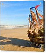 Ship Model On Summer Sunny Beach Acrylic Print