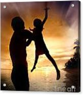 Silhouette Family Of Child Hold On Father Hand Acrylic Print