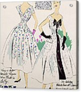 Vintage Fashion Sketches And Fabric Swatches Acrylic Print
