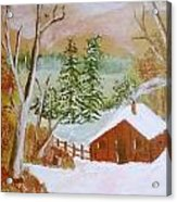 Ski Cabin Acrylic Print