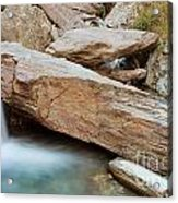 Small Waterfall Casdcading Over Rocks In Blue Pond Acrylic Print