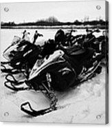 snowmobiles parked in Kamsack Saskatchewan Canada Acrylic Print