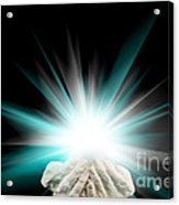 Spiritual Light In Cupped Hands On A Black Background Acrylic Print