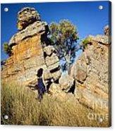 Split Rocks With Woman Acrylic Print