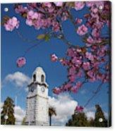 Spring Blossom And Memorial Clock Acrylic Print